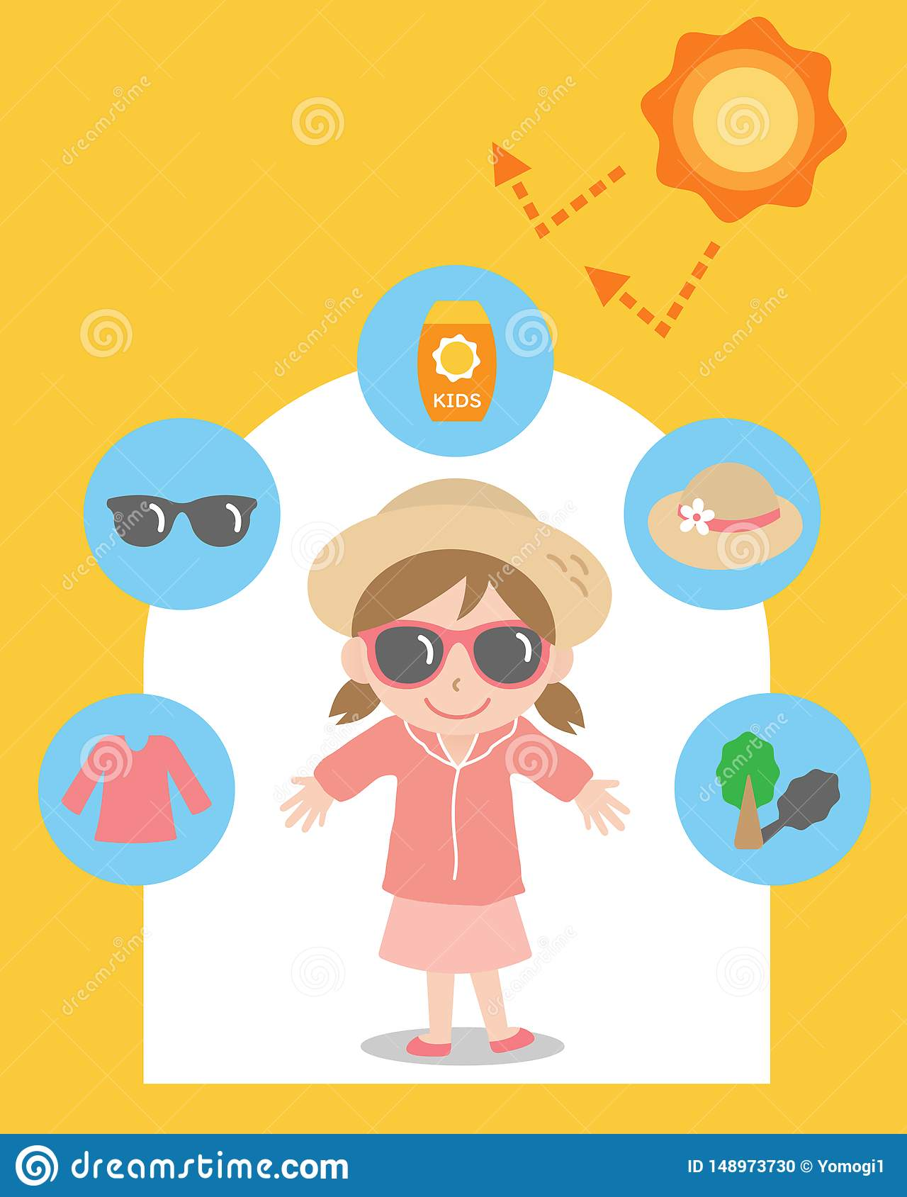 4eef9ccd9e8 Sun protection items keep kid safe from harmful UV rays. health care  concept. More similar stock illustrations