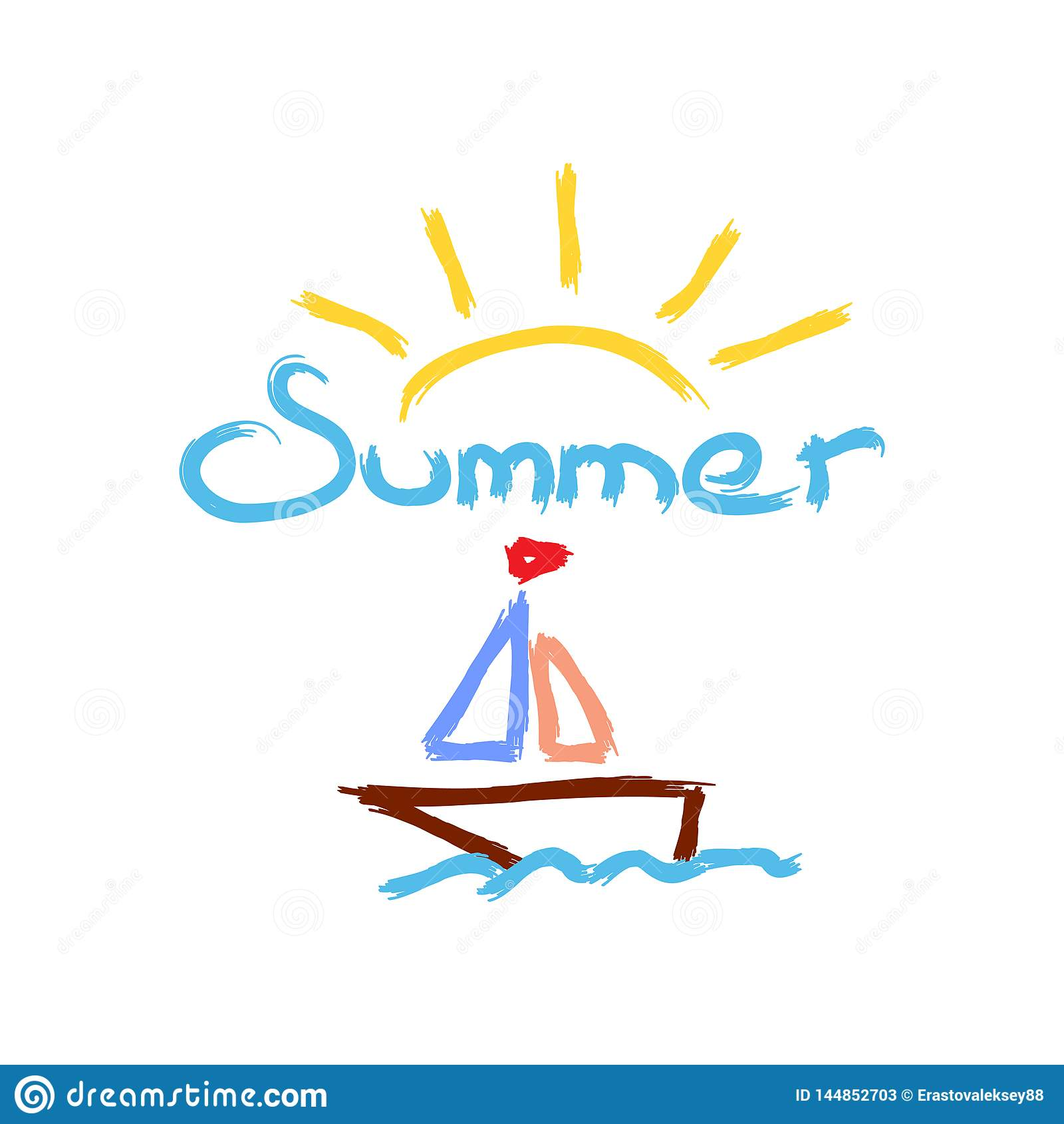 Sun, sailboat and text Summer painted with watercolor brush. Sketch drawn by hand. Vector Illustration.