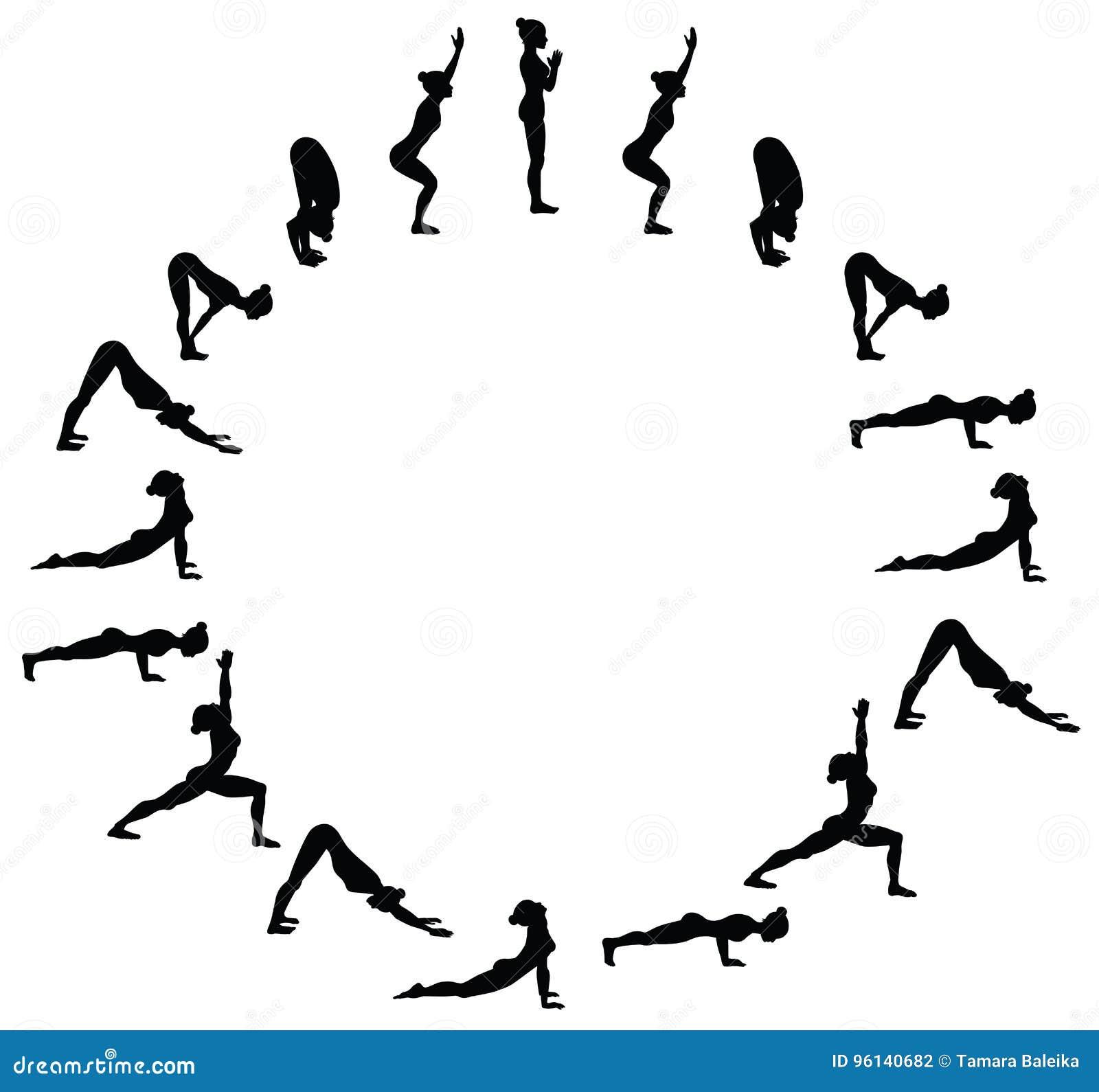 Download Sun Salutation Surya Namaskara B Yoga Sequence Stock Vector