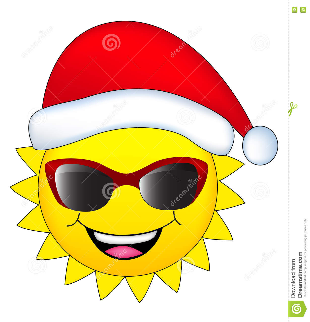 Sun with santa hat stock illustration. Illustration of ...
