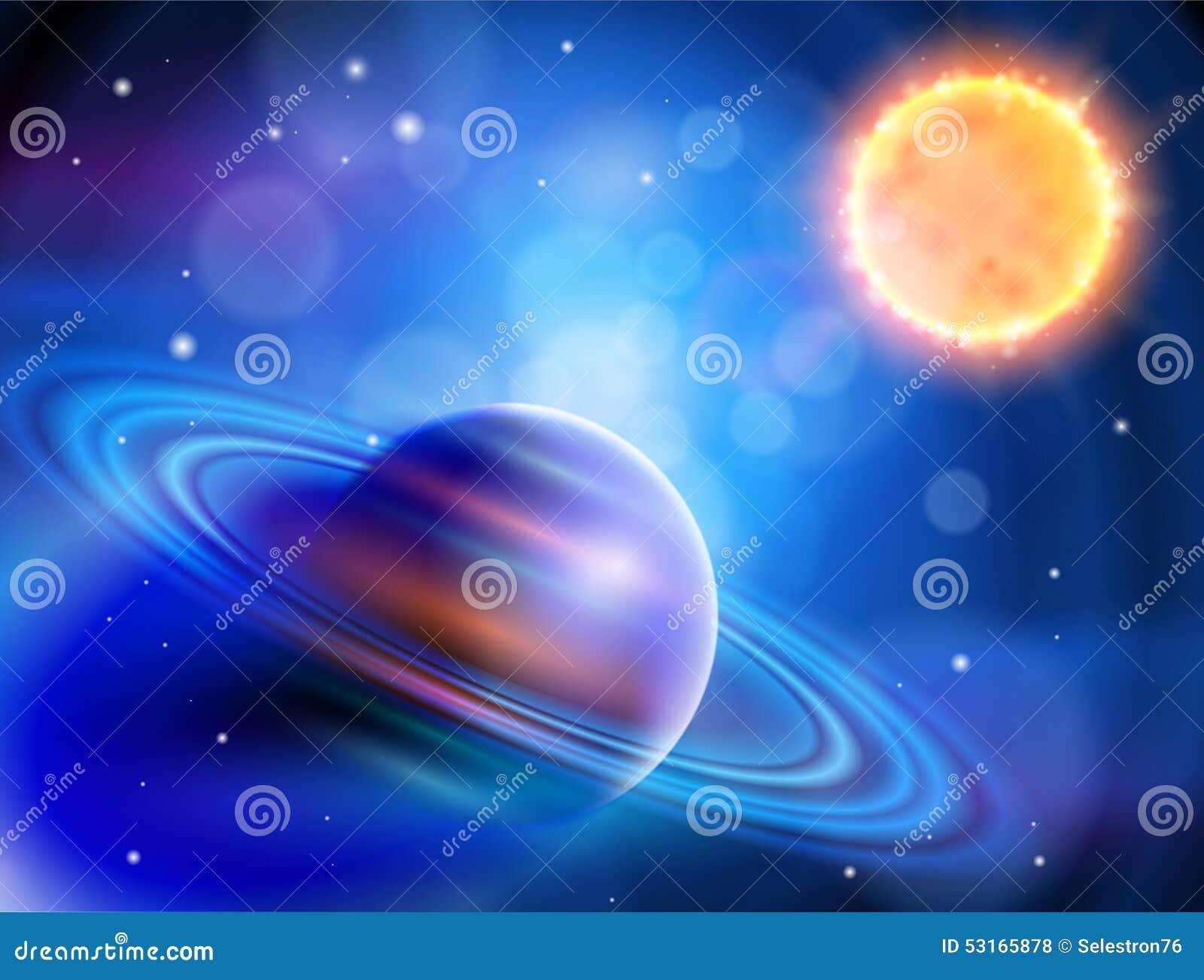 Sun & Saturn stock vector. Illustration of meteor, glow ...