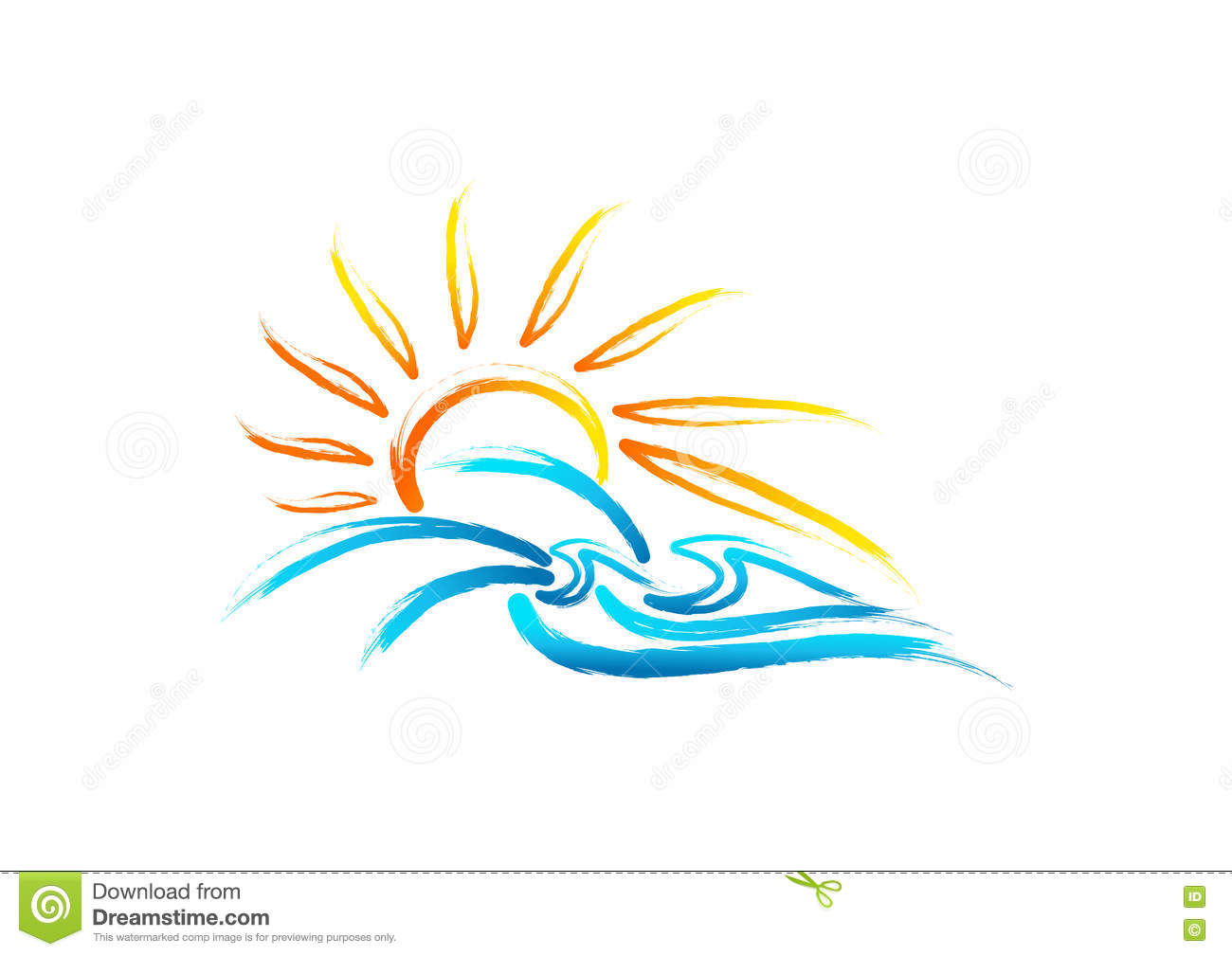 Sun sea wave logo, vintage summer symbol, retro wild nature marine concept design