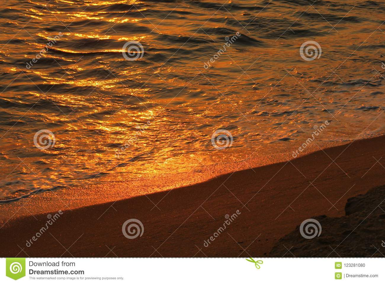 Sun set with water and sand ,Gall-face, Sri lanka,