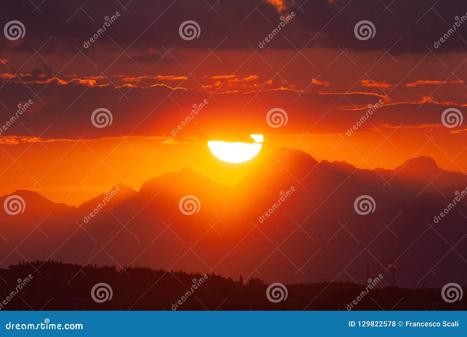 Sun Setting Behind Apuan Alps