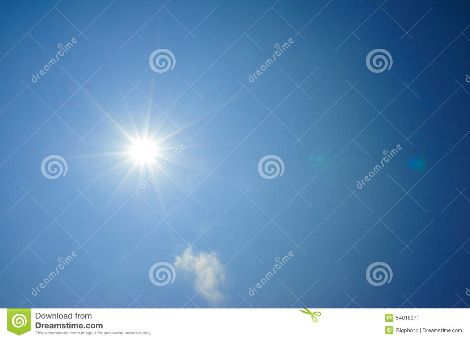 Sun shine in blue sky