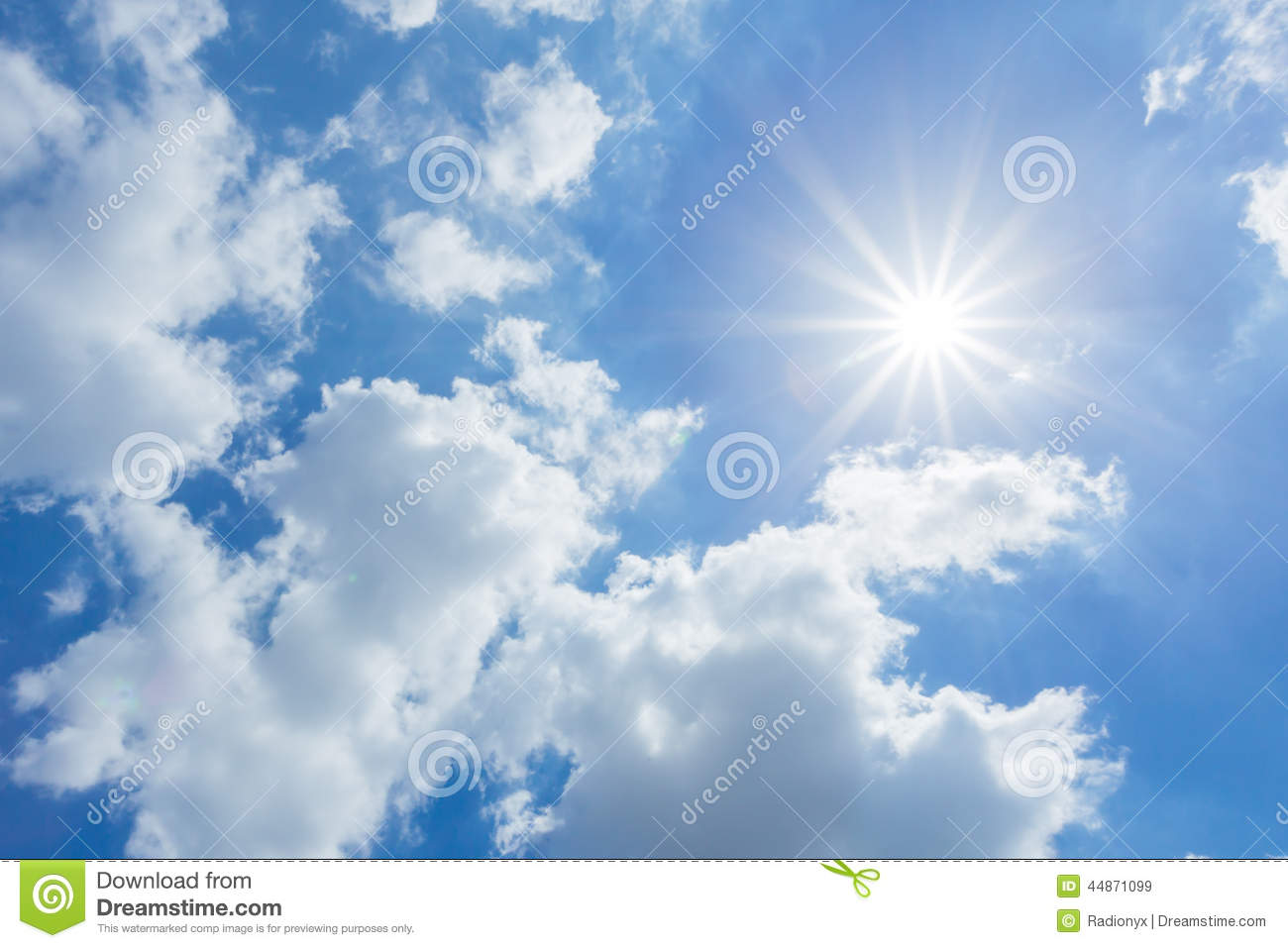 The Sun Shines Bright In The Daytime In Summer Blue Sky