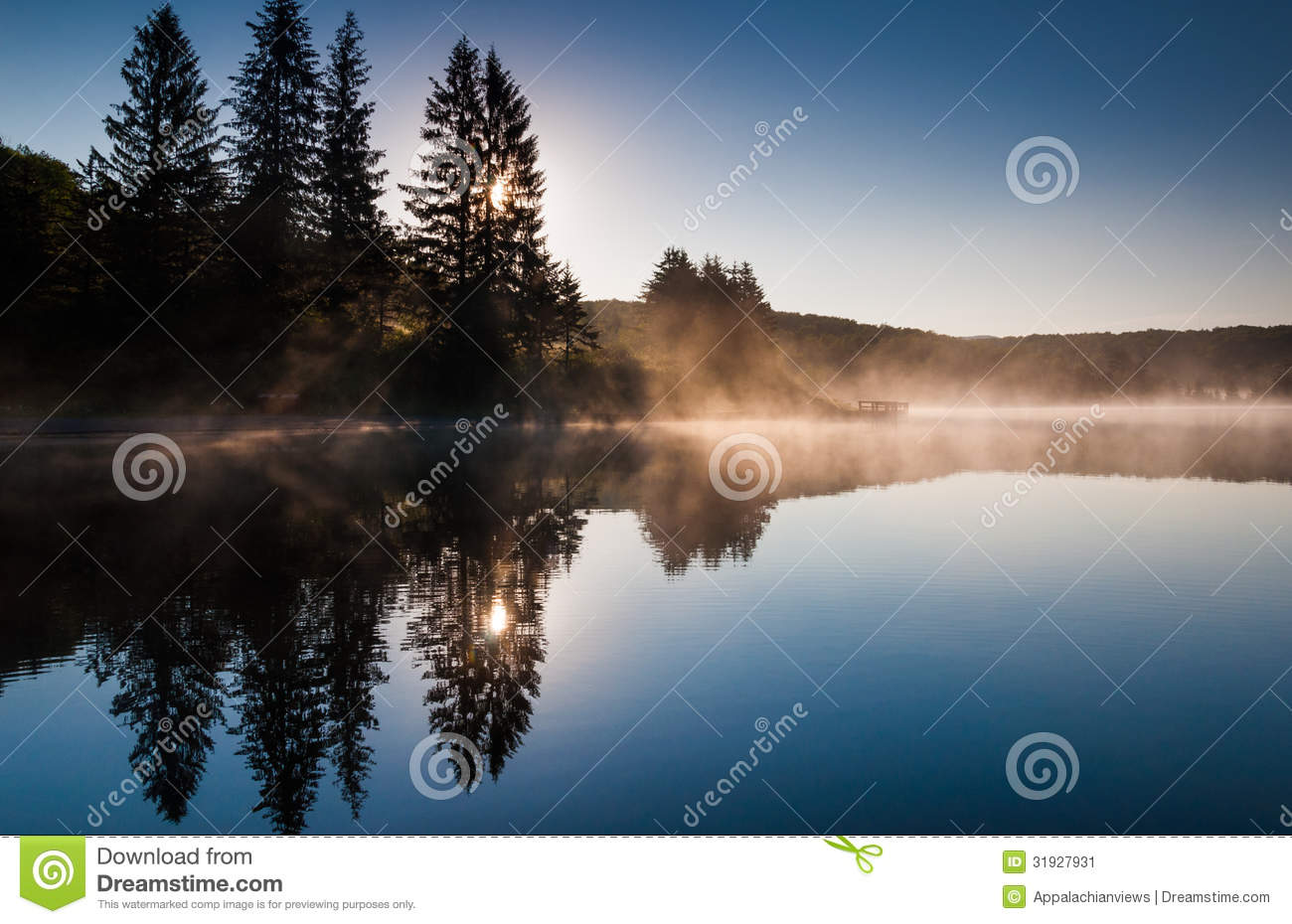 The sun shines through pine trees and fog at sunrise, at Spruce Knob Lake, West Virginia