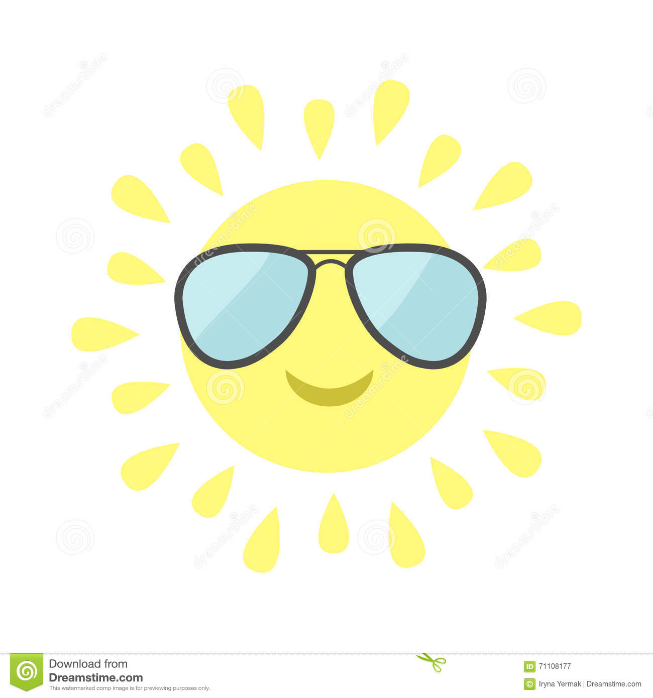 Attirant Sun Shining Icon. Sun Face With Pilot Sunglassess. Cute Cartoon Funny  Smiling Character. Hello Summer. White Background. Isolated.