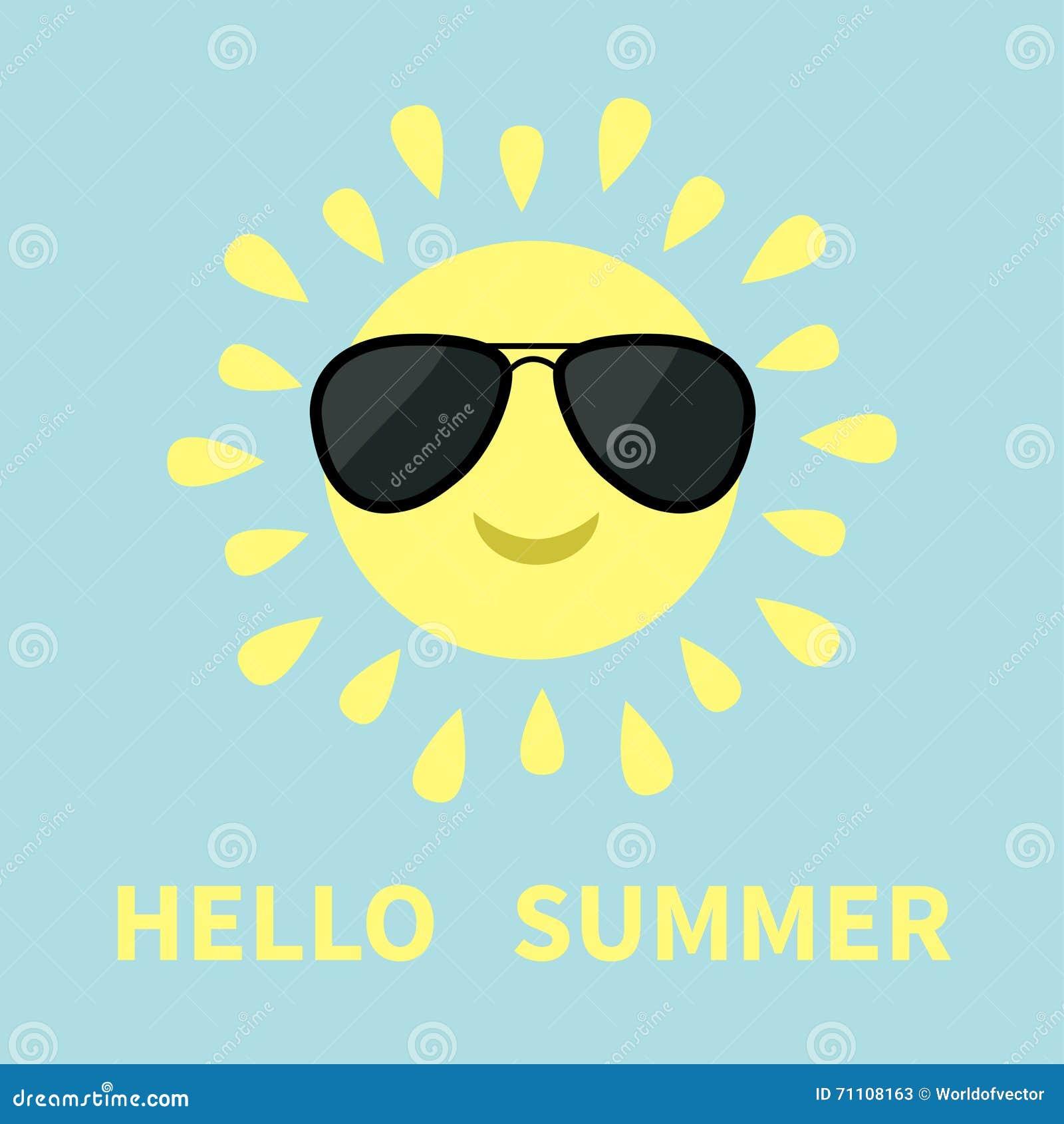 Sun Shining Icon. Sun Face With Sunglassess. Cute Cartoon Funny Smiling Chara...