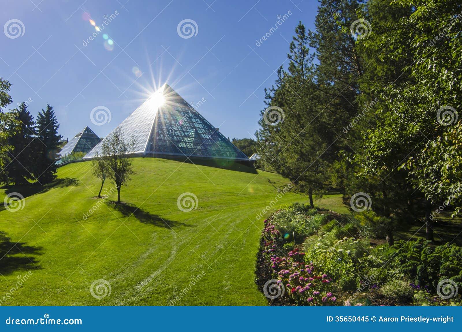 Sun Shining Off the Muttart Conservatory