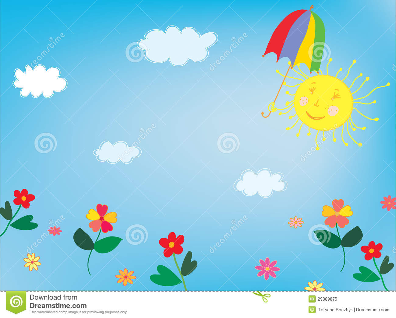 Sun And Sky Background For Children Stock Vector Image