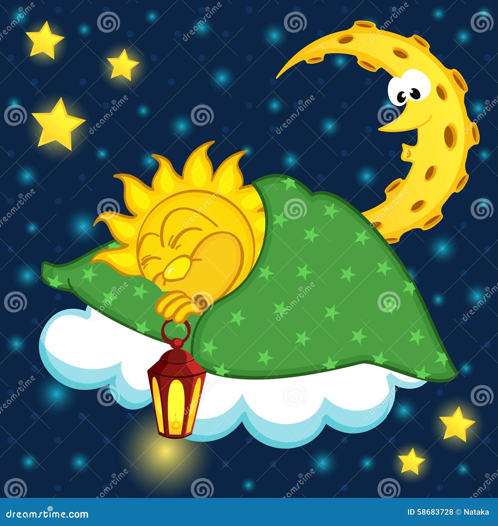 Sun Sleeping On Cloud Stock Vector Illustration Of Lamp