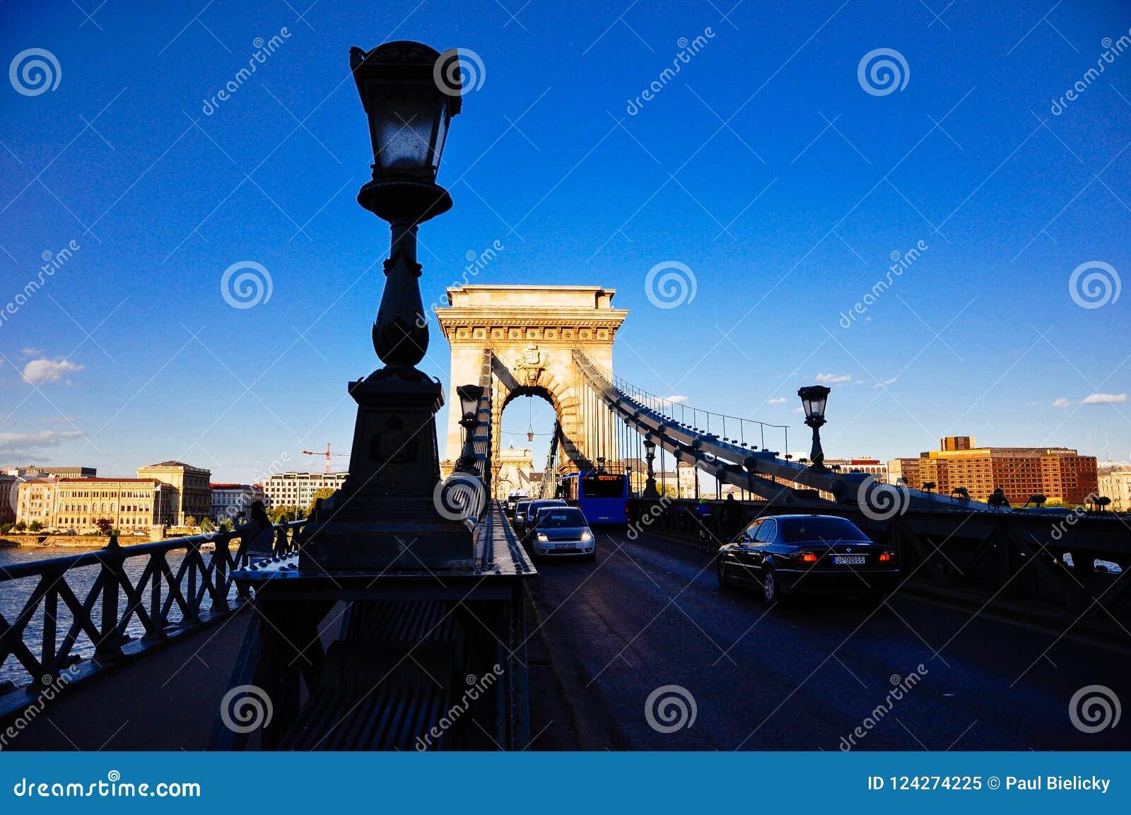 The Széchenyi Chain Bridge in Budapest, Hungary.