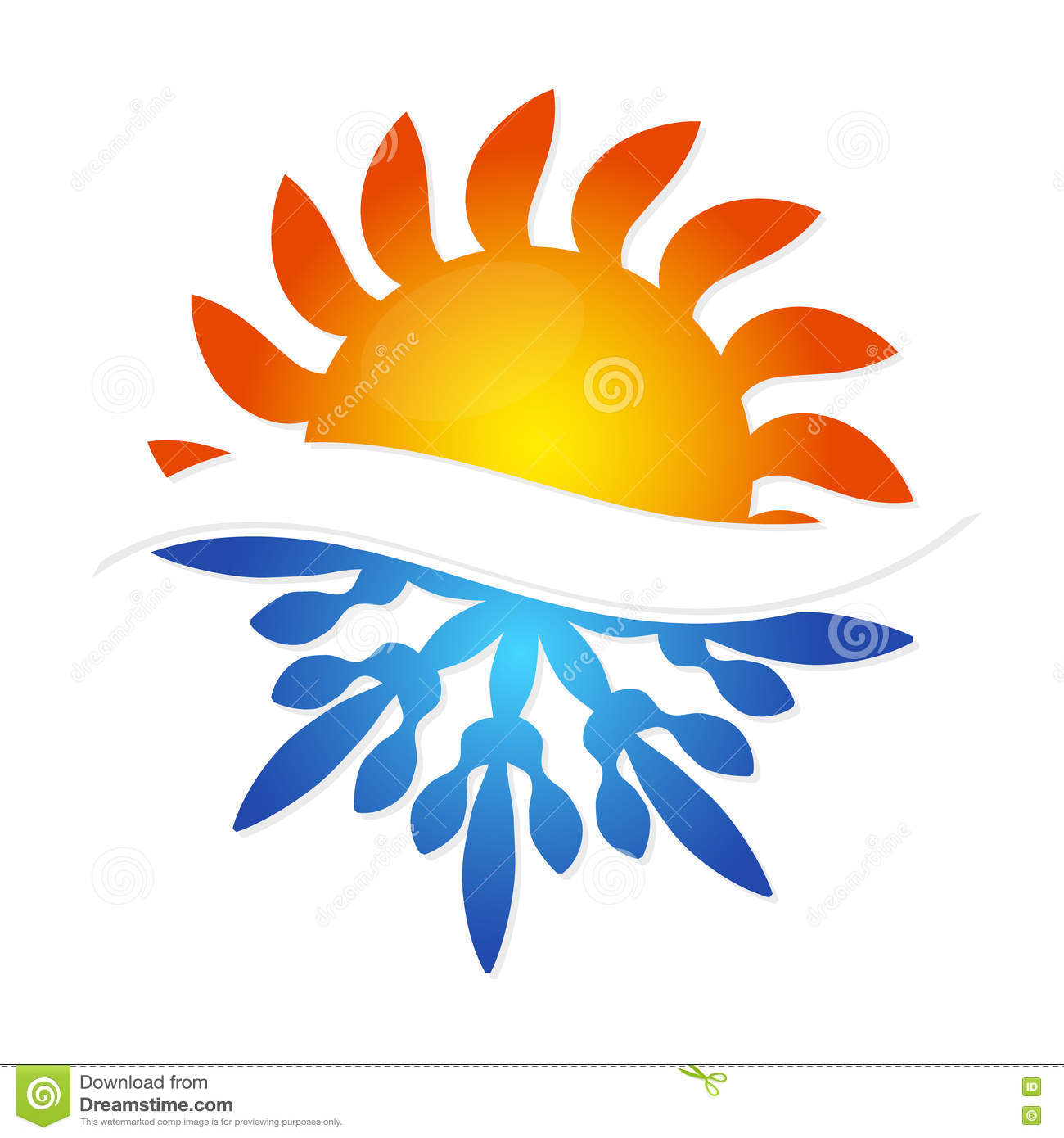 Sun And Snowflake Symbol Air Conditioning Stock Vector ...
