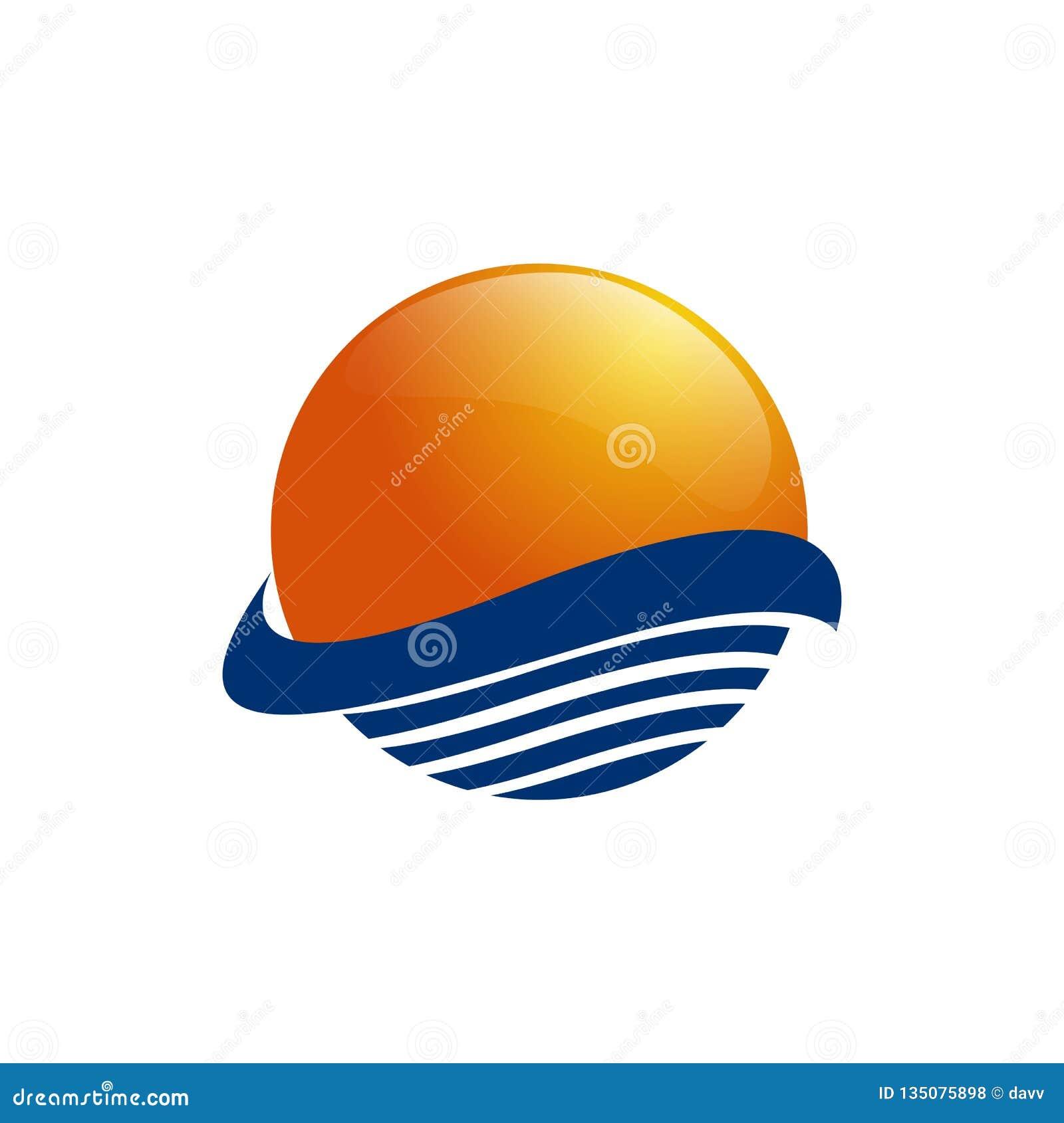 Sun sobre ondas del mar Sun y mar Icono del logotipo de Sun aislado en el fondo blanco Ilustración Editable del vector