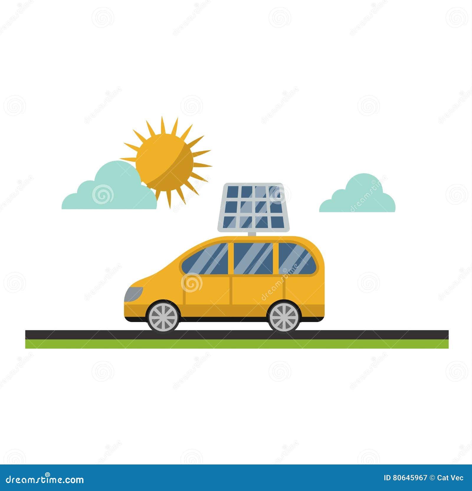 Sun Solar Energy Vector Electric Car Stock Vector