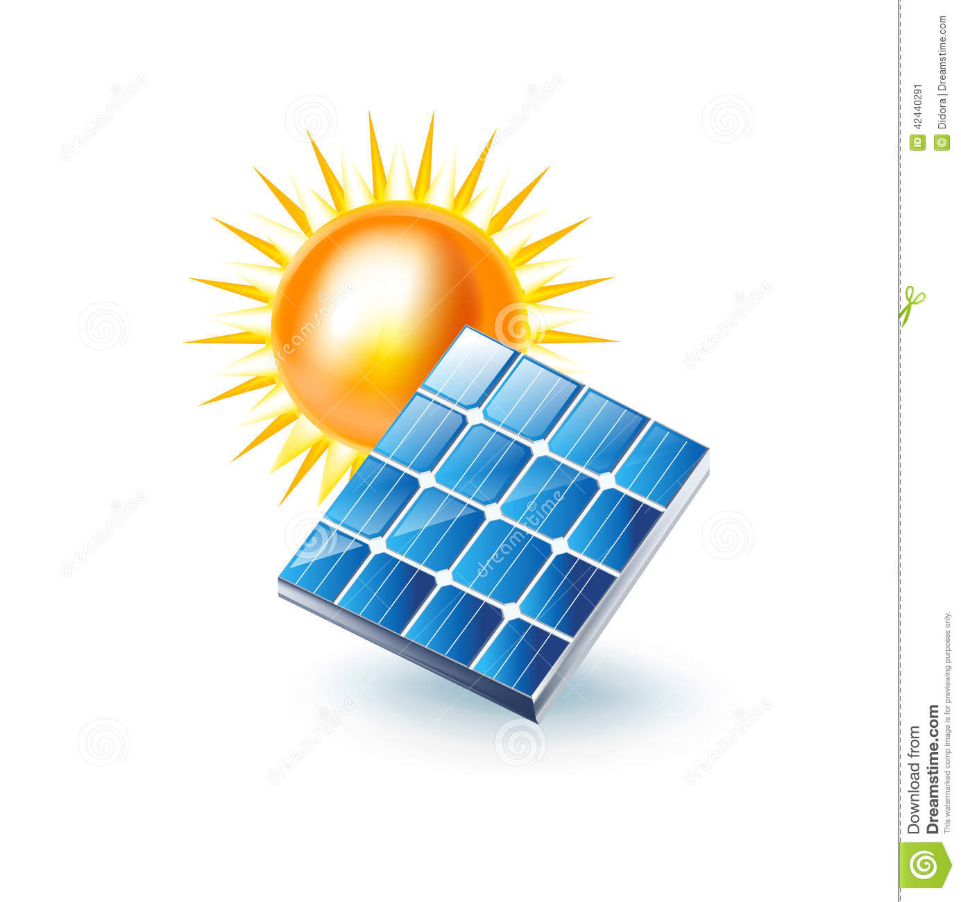 Sun And Solar Panel Icon Isolated On White Stock Vector