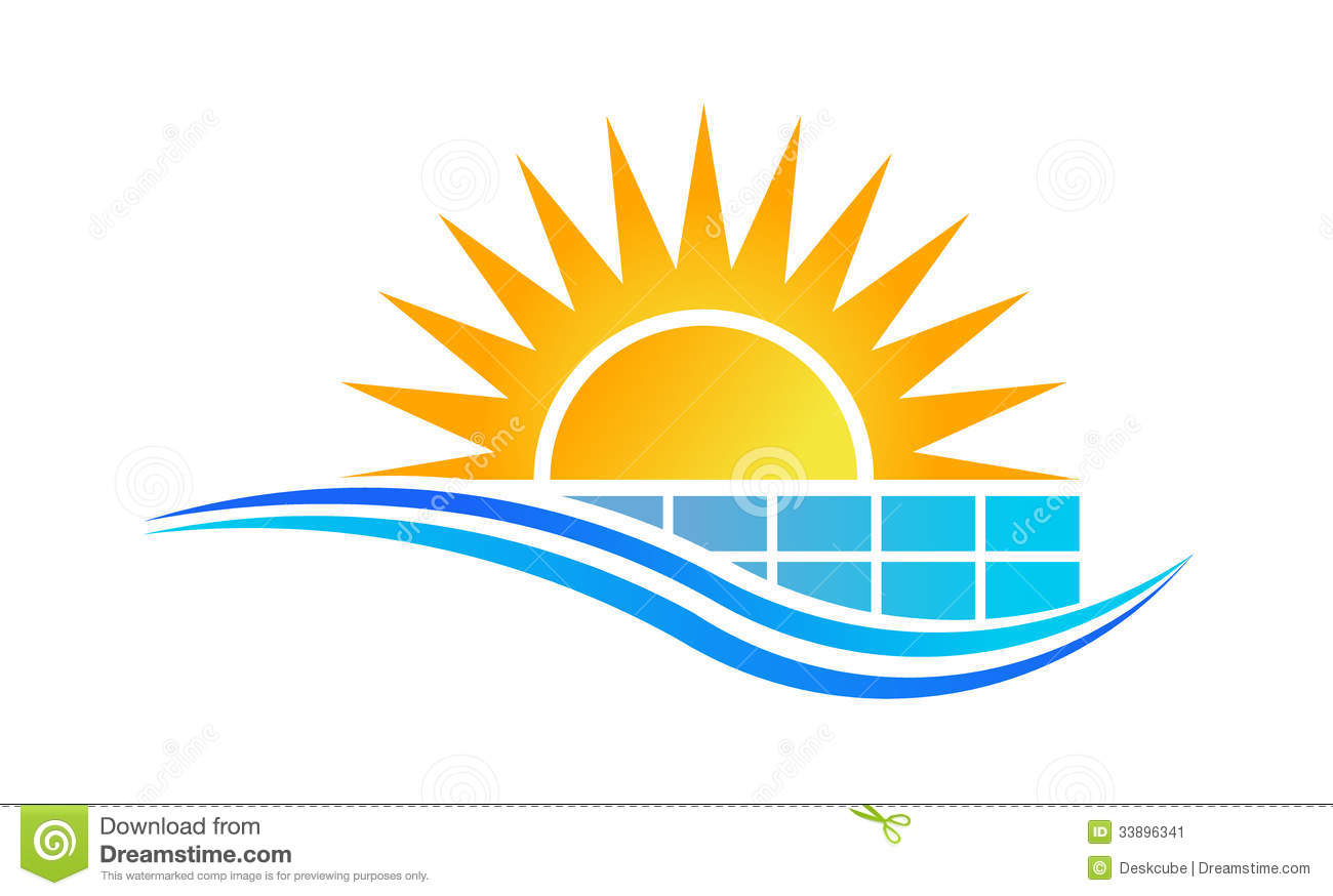 sun and solar panel logo stock image image 33896341
