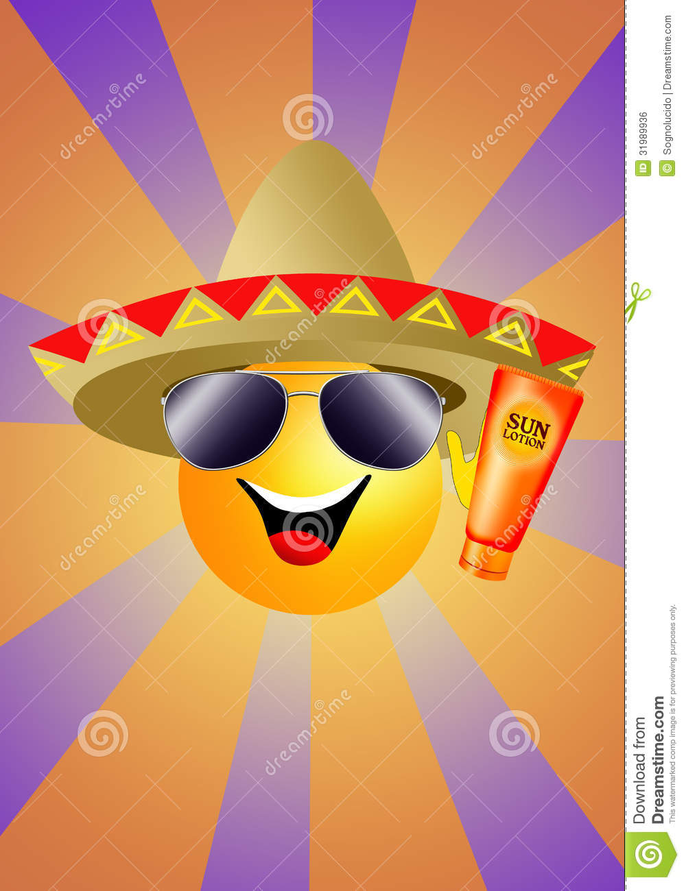 Sun With Sombrero And Sun Lotion Stock Illustration - Illustration ... b8417d4c22b