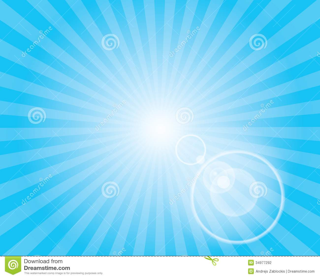 Ice Cream Wallpaper In Soft Blues And Multi From The Dream: Sun Sunburst Pattern With Lens Flare. Blue Sky. Stock