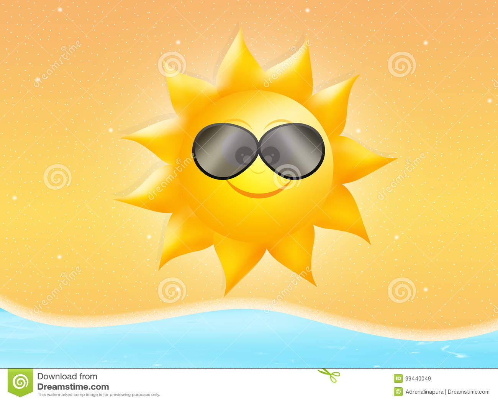 Sun With Sunglasses Stock Illustration - Image: 39440049
