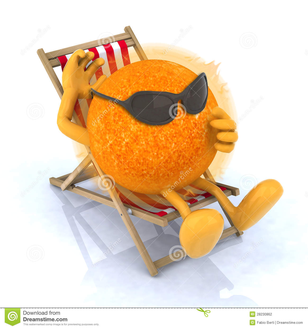 Sun with sunglasses lying on beach chair stock photography