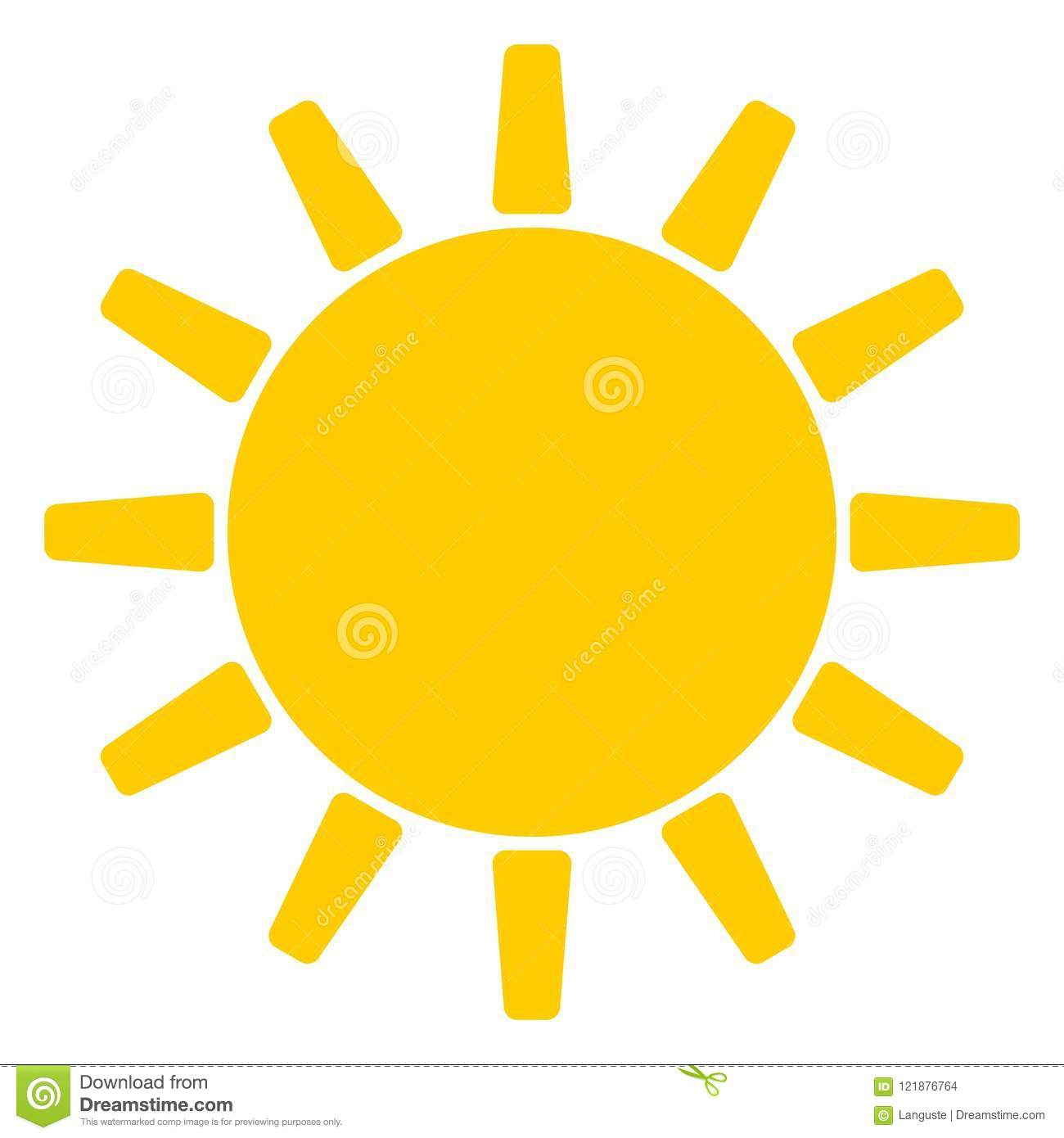 Sun And Sunshine Symbol Vector On A White Isolated Background Stock