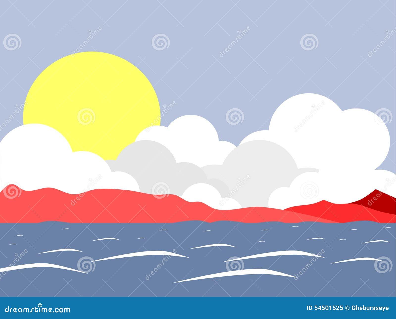 Sun sur le lac avec le fond de montagne
