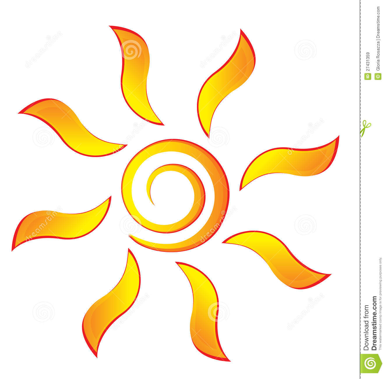 Sun With Swirly Rays Royalty Free Stock Images - Image: 27431359