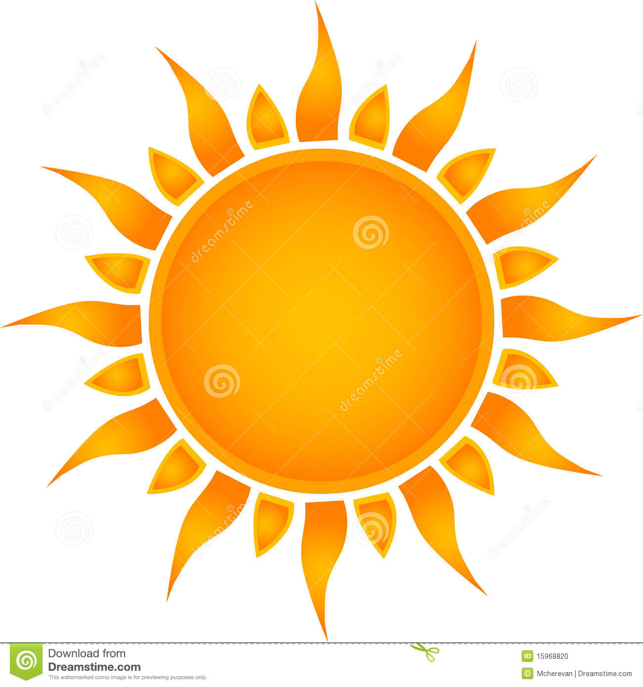 Beautiful symbol, an icon of the sun, with rays of yellow.