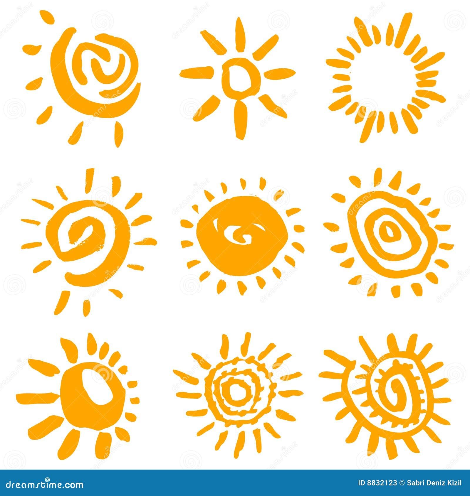 Sun symbols vector stock vector. Image of burst, element