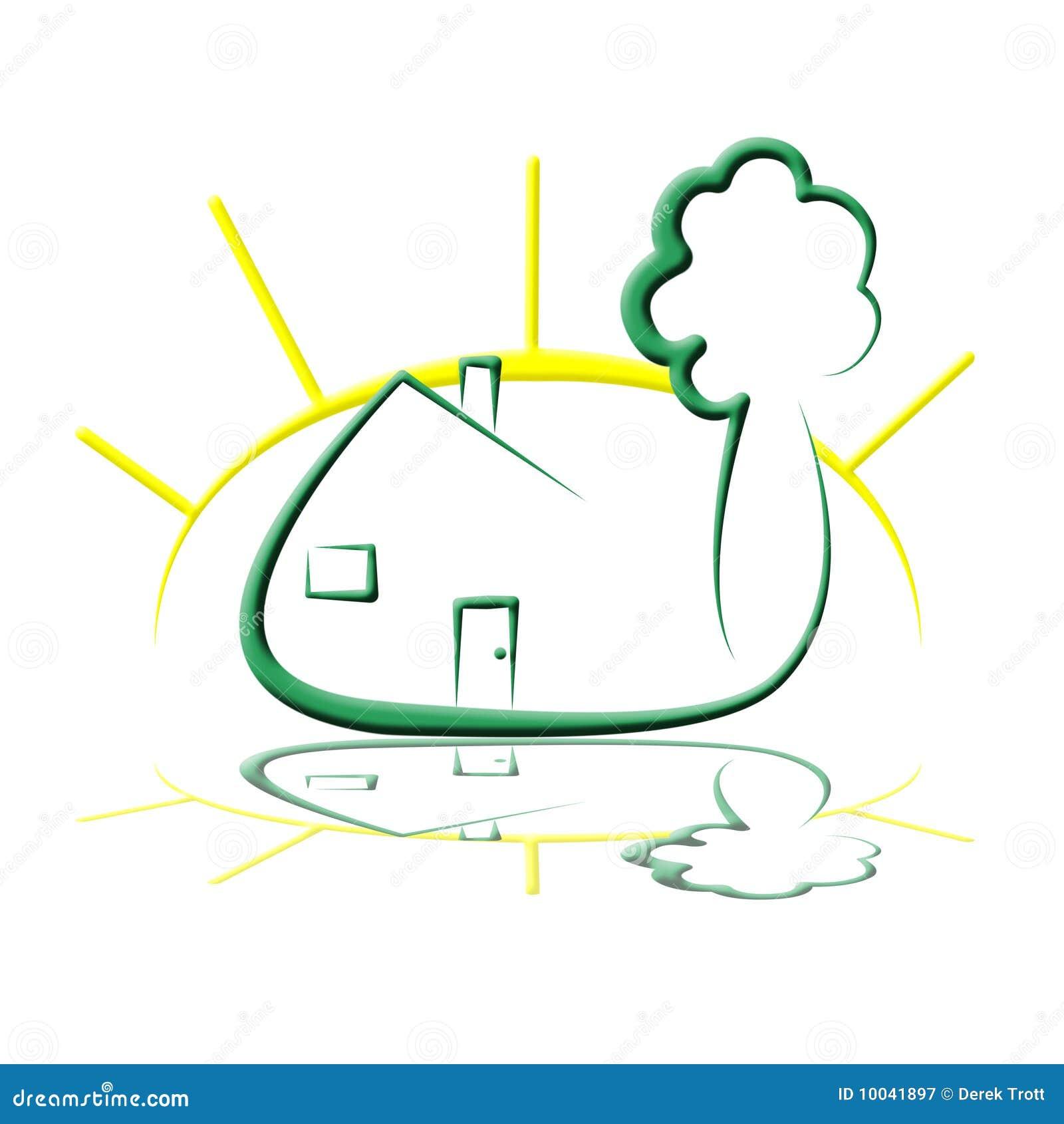 Sun Tree House Logo Royalty Free Stock Photography Image