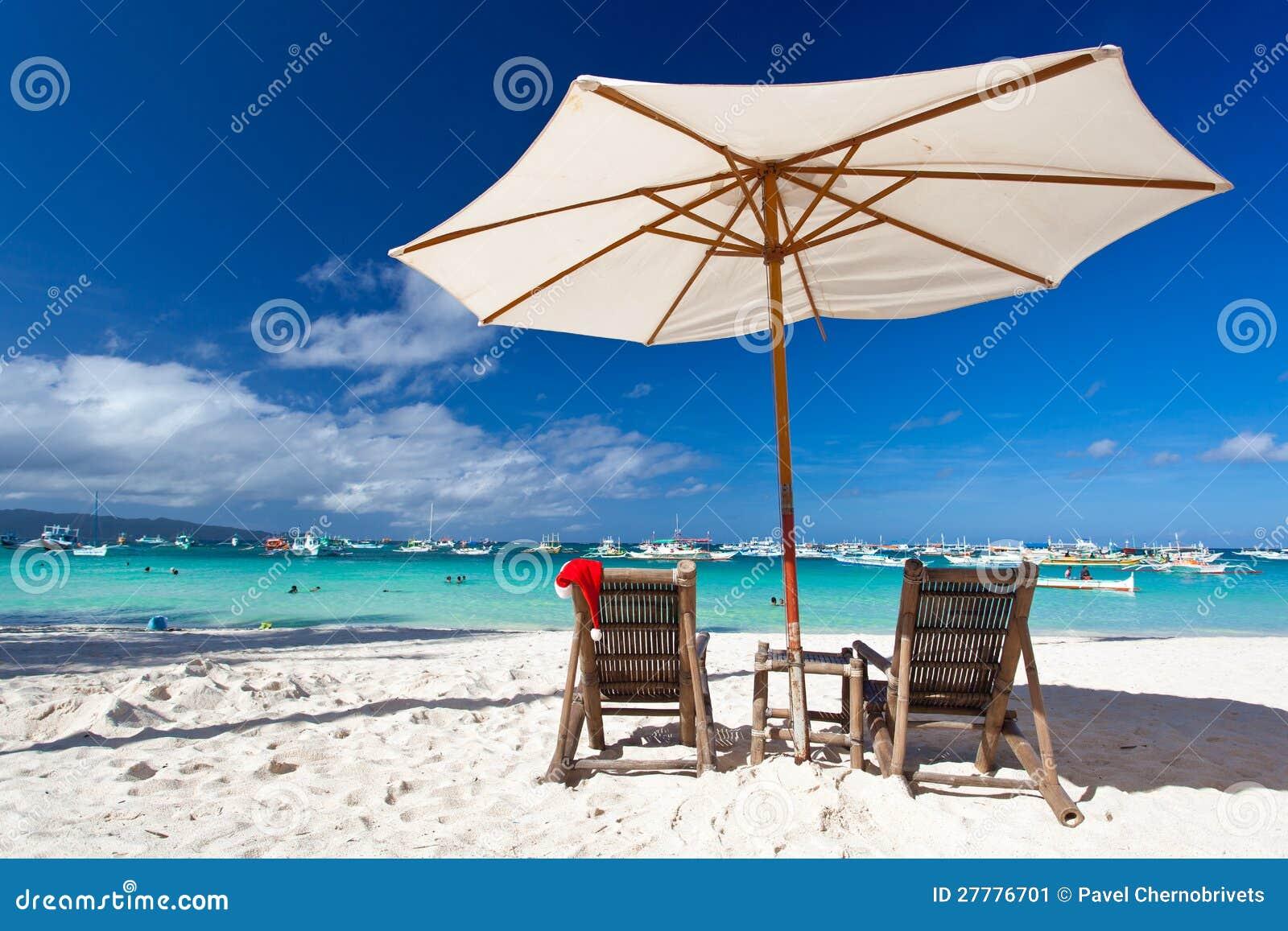 Sun Umbrella With Santa Hat Chair Stock Image Image