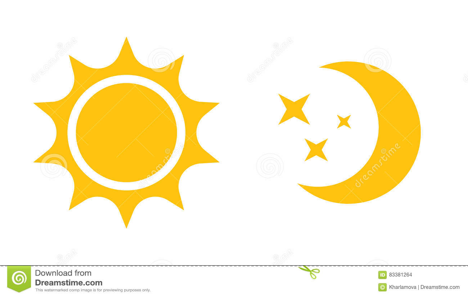 Sun und flache Ikone des Mondes Vector Logo für Webdesign, Mobile und infographics