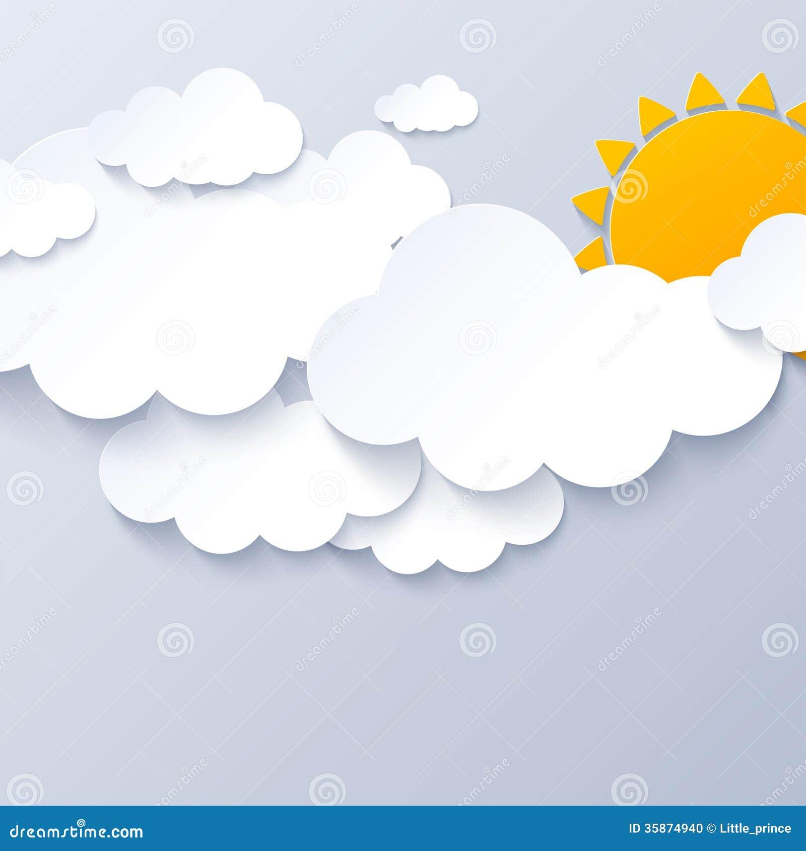 Sun und Wolken auf grauem Himmelhintergrund
