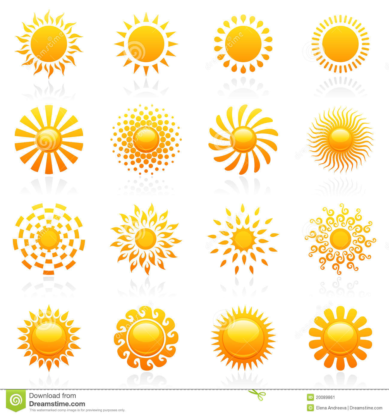 Sun Vector Logo Template Set Stock Image Image 20089861