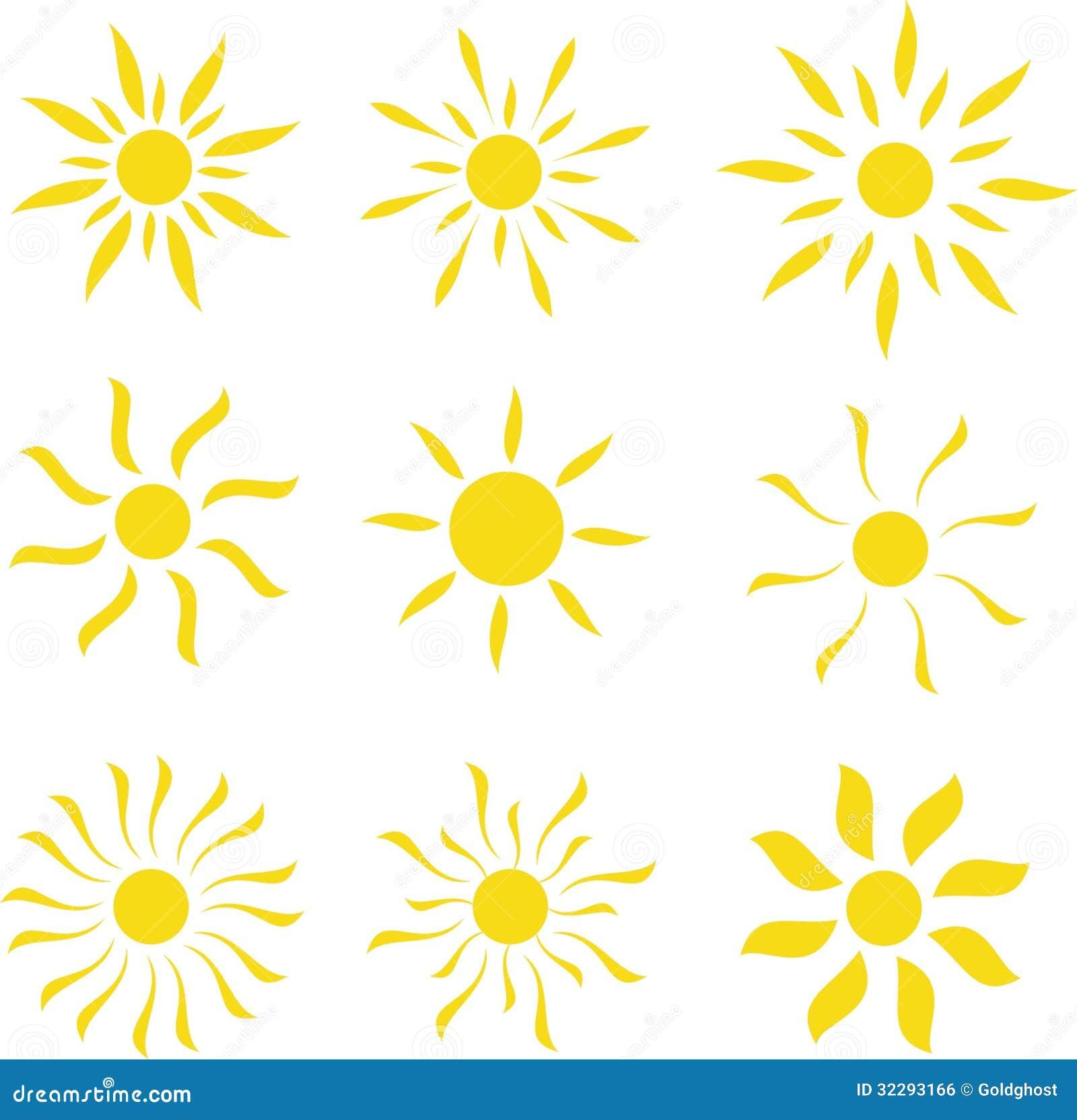 Sun Vector Logo Template Set Royalty Free Stock Image