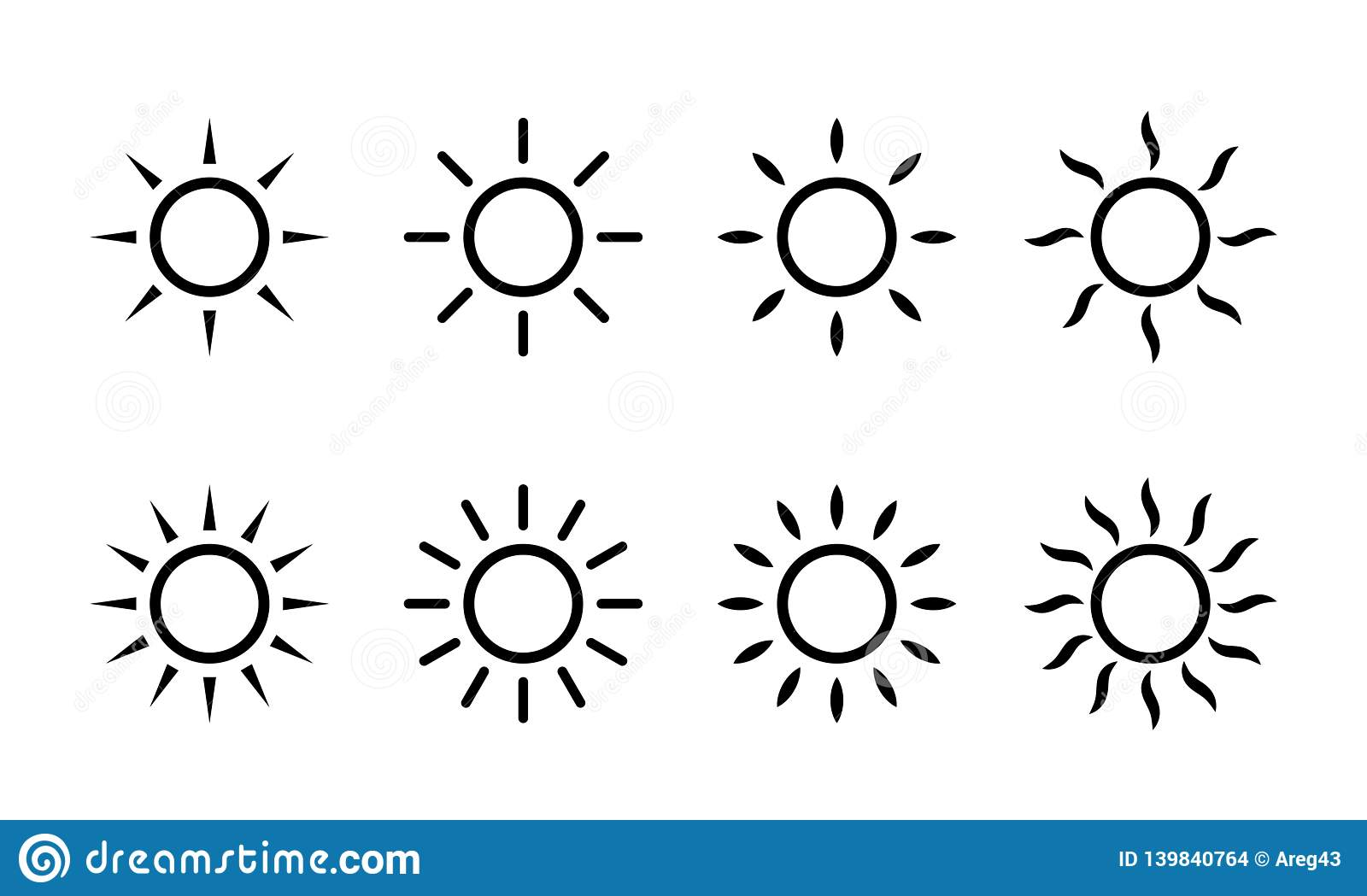 Sun vector sunshine line icons. Simple sun icon with rays or sunlight beams