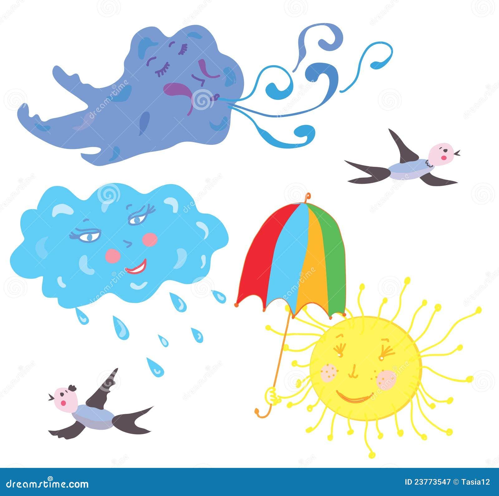 Sun Vento Pioggia Tempo Della Nube Divertente Illustrazione