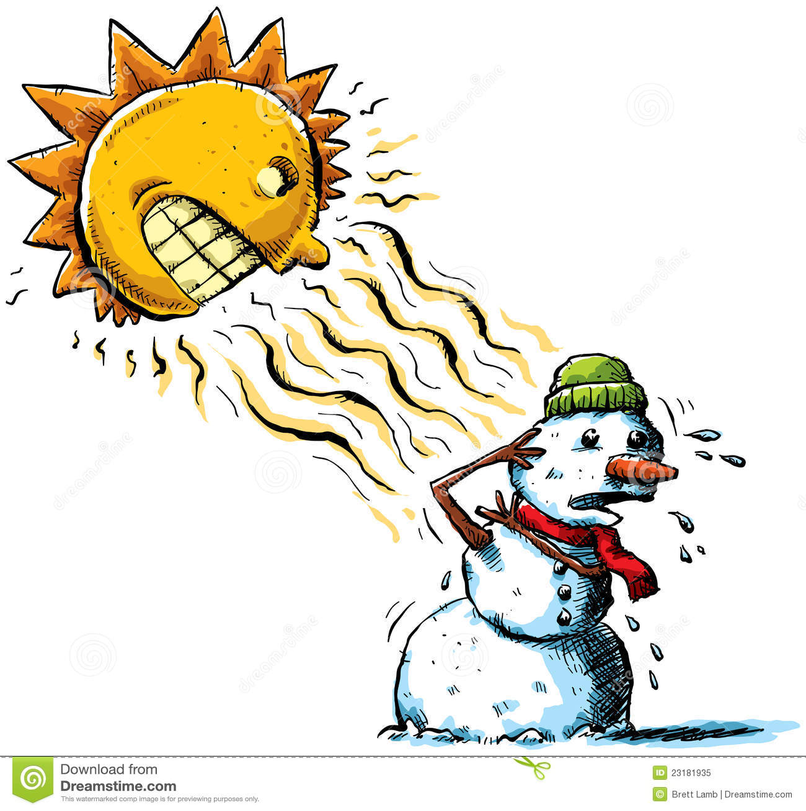 sun vs snowman royalty free stock photo image 23181935 Snowman Clip Art Black and White Olaf Melting