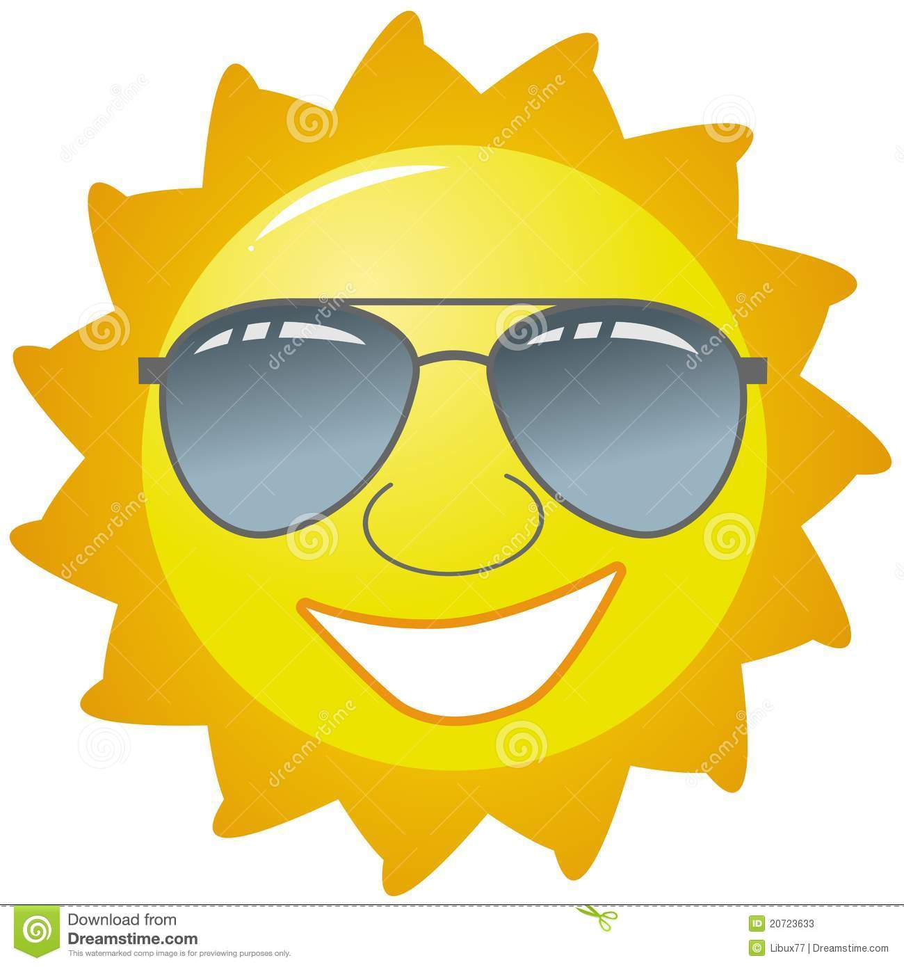 ... featuring a bright yellow happy sun wearing sunglasses and a smile