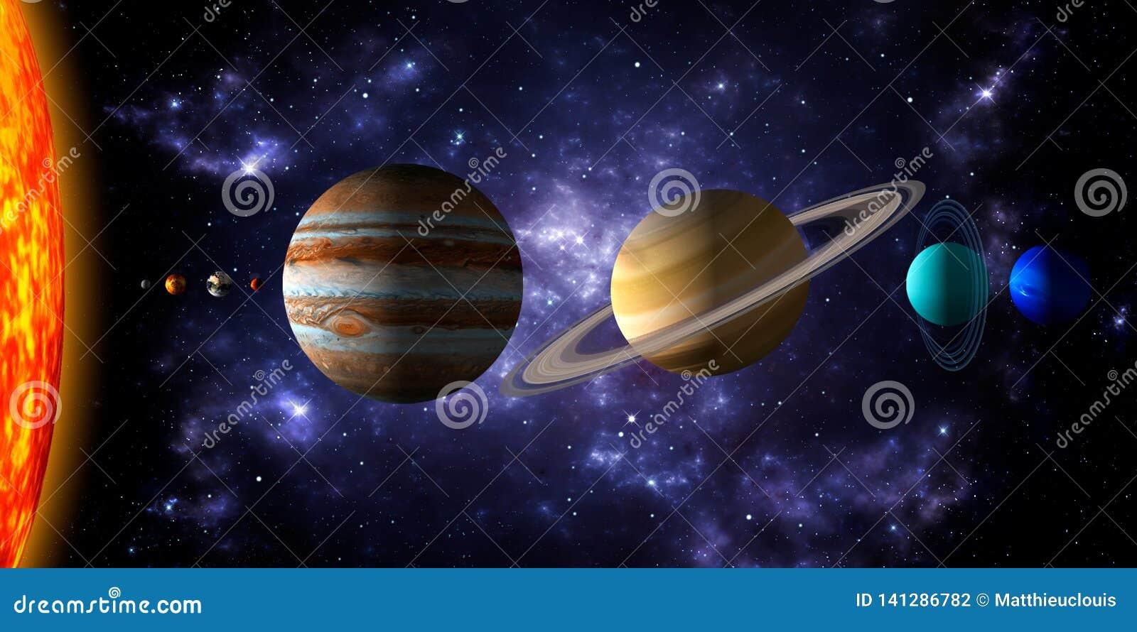 Sun Y Los Ocho Planetas De La Sistema Solar Con El Espacio Profundo Y El Fondo Dramático De La Nebulosa Ejemplo Realista 3d Del Stock De Ilustración Ilustración De Escuela Cartel