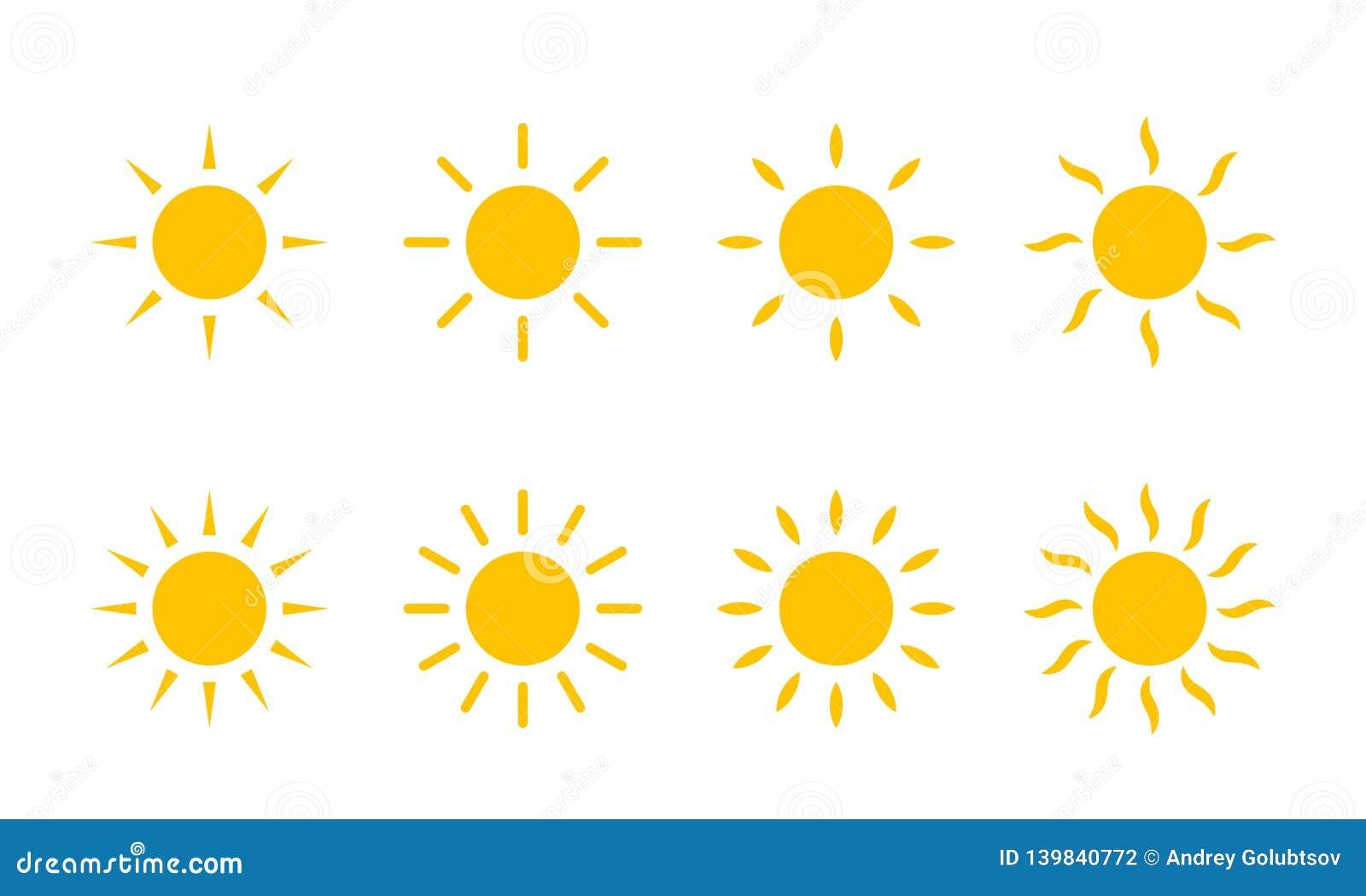 Sun yellow sunshine icon. Vector sun line swirl rays or heat beams