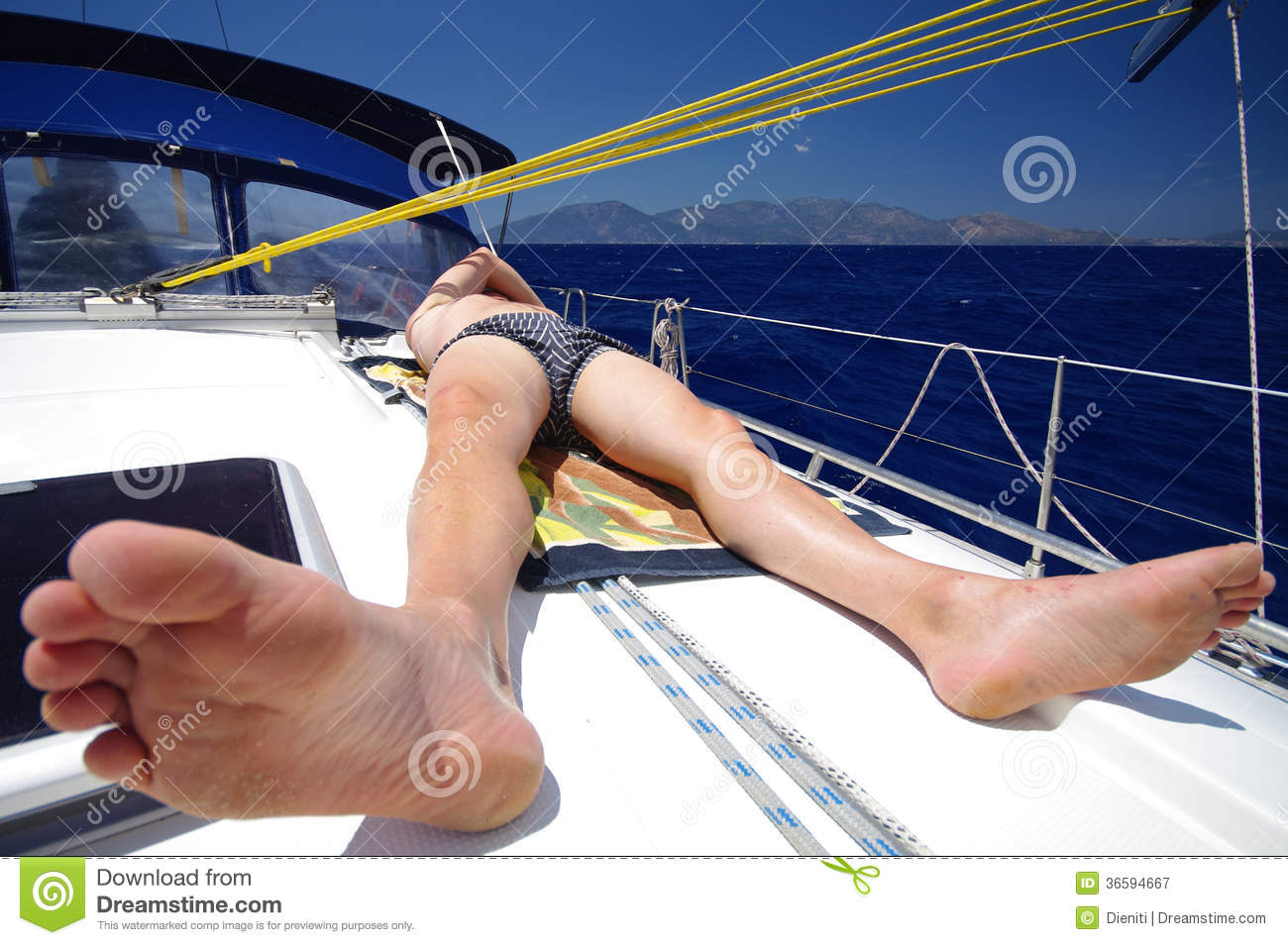 Sunbath On Deck Of A Sailboat, Turkey Royalty Free Stock ...