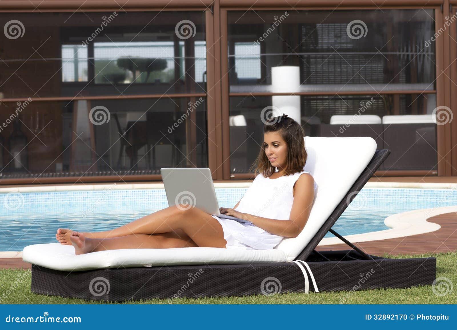 Sunbathing And Working Stock Photo Image 32892170