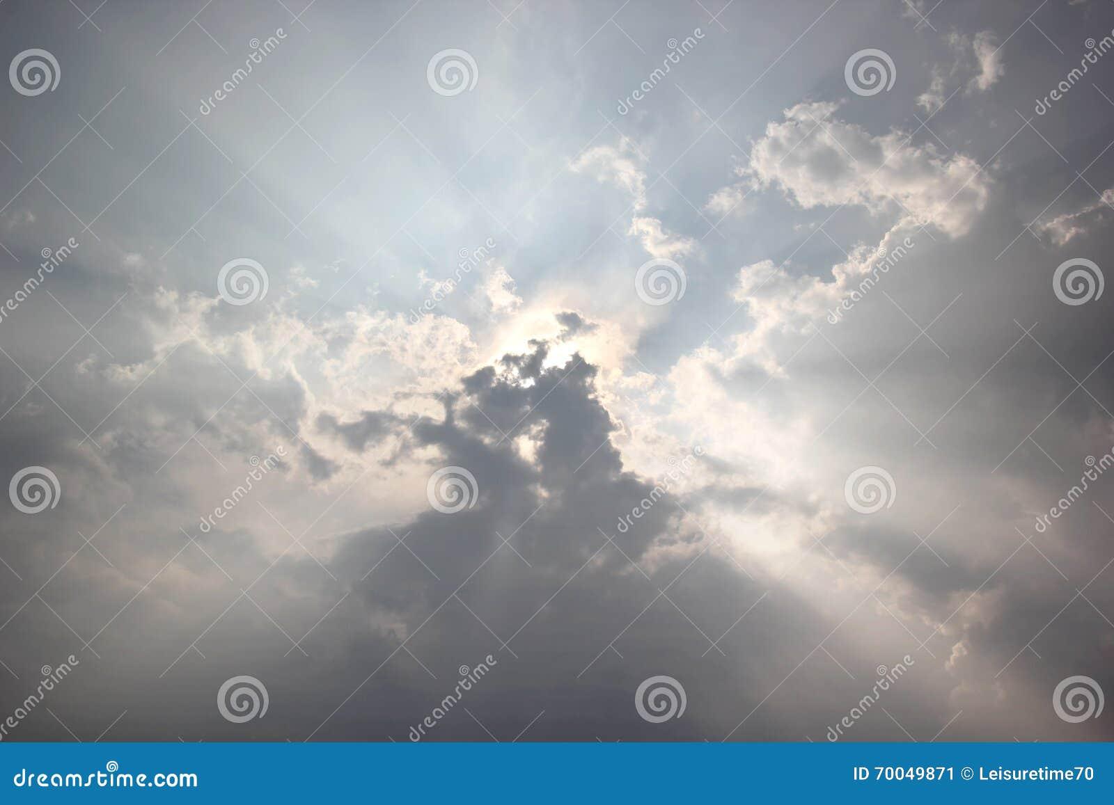 Sunbeam on blue sky