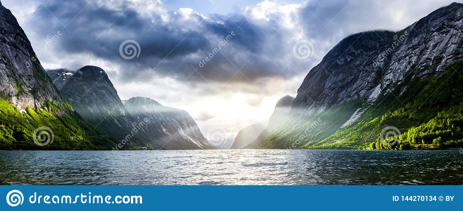 Sunbeam at a fjord