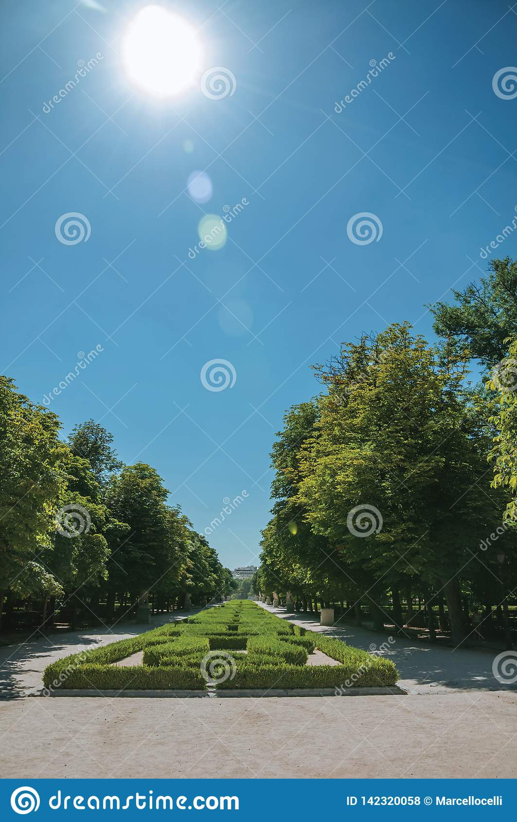 Sunbeam over pathway on green garden in a park of Madrid