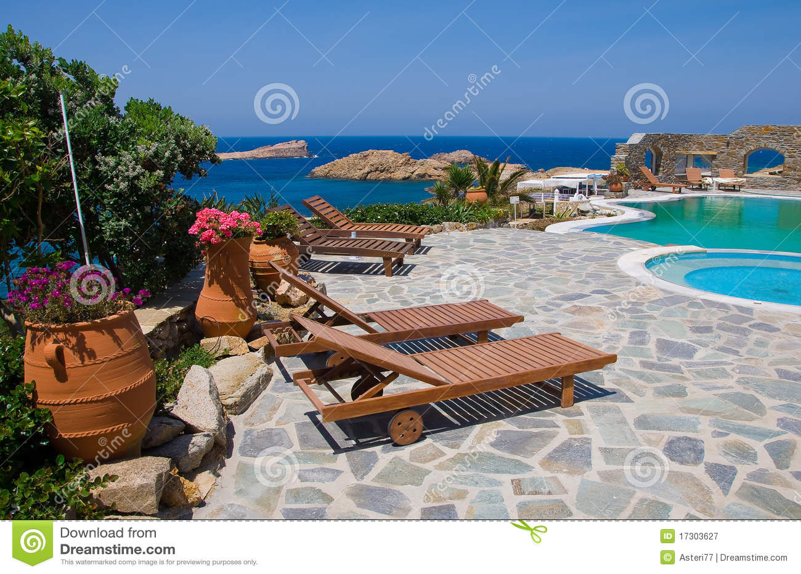 Sunbeds alrededor de la piscina en la yarda con las flores - Business plan piscina ...