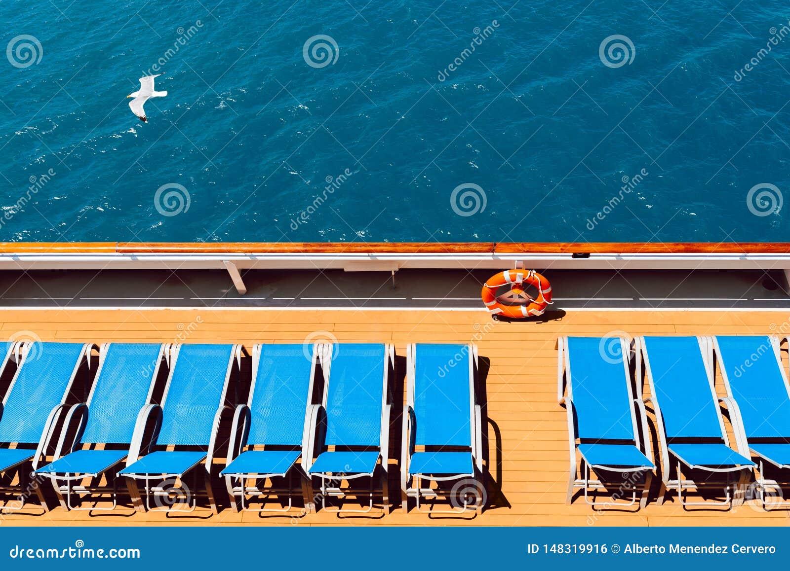 Sunbeds on boat